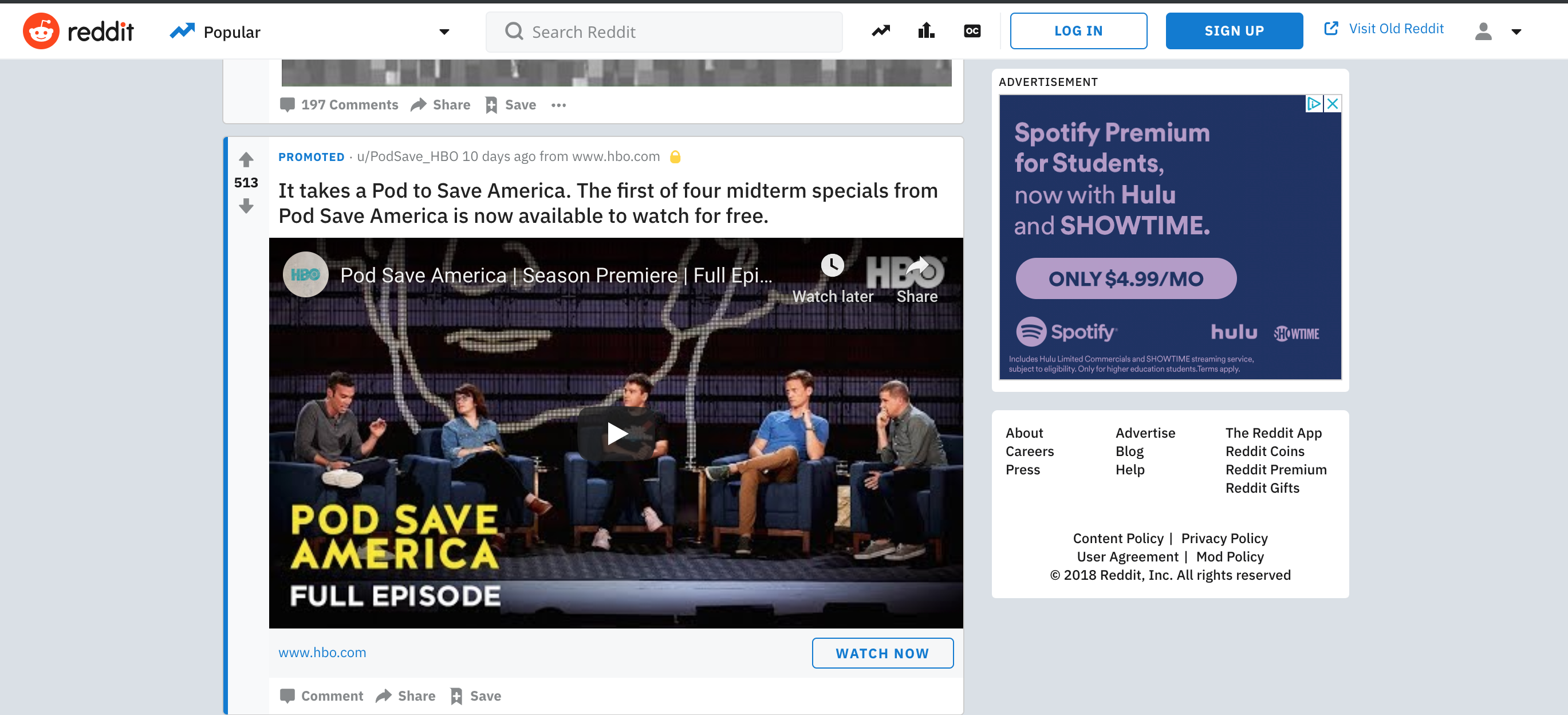 An example of Reddit's native video ads