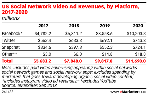 US Social Network Video Ad Revenues, by Platform, 2017-2020 (eMarketer)